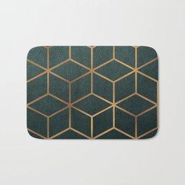 Dark Teal and Gold - Geometric Textured Gradient Cube Design Bath Mat