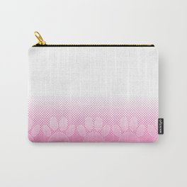 Pink And White Paws With Newsprint Background Carry-All Pouch