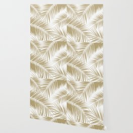 Palm Leaves - Gold Cali Vibes #6 #tropical #decor #art #society6 Wallpaper