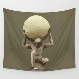 Man with Big Ball Illustration brown Wall Tapestry