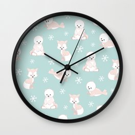 ARCTIC FRIENDS (green) Wall Clock
