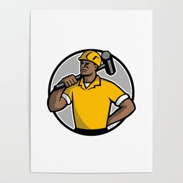 African American Demolition Worker Mascot Poster