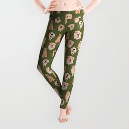Golden Retriever on Green Leggings