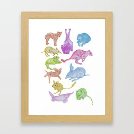 Australian Animals Partying! Framed Art Print