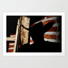 Shadowman on Brick Art Print