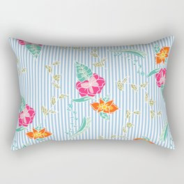 Modern trendy baby blue stripes tropical bright floral pattern Rectangular Pillow