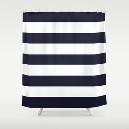 Elderberry - solid color - white stripes pattern Shower Curtain