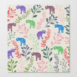 Watercolor Flowers & Elephants Canvas Print