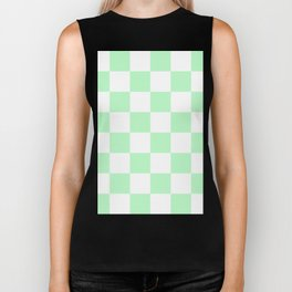 Large Checkered - White and Mint Green Biker Tank
