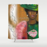 i woke up like this Shower Curtains featuring woke up like this by Mogul Boutique