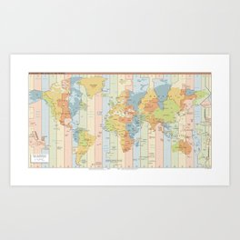 Standard Time Zones of the World Map Art Print