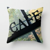 cafe Throw Pillows featuring Cafe by Kasia Wo
