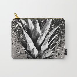 Pineapple Silver Gray Glitter Glam #1 #tropical #fruit #decor #art #society6 Carry-All Pouch