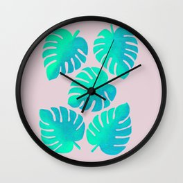 Monstera Leaves on Pink Wall Clock