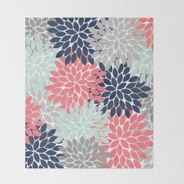 Flower Burst Petals Floral Pattern Navy Coral Mint Gray Throw Blanket