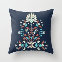 folk Throw Pillows featuring Folk by Carolina Abarca