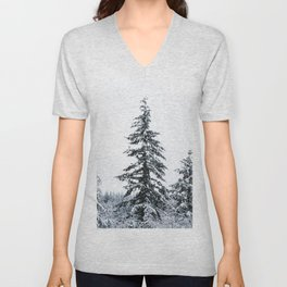 Winter Trees II - Snow Capped Forest Adventure Nature Photography Unisex V-Neck