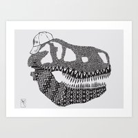 t rex Art Prints featuring T-rex by Surfing Shaman