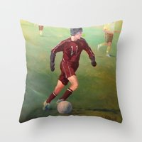 soccer Throw Pillows featuring Soccer by Karen Pettengill