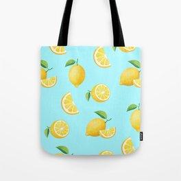 Lemons on Blue Tote Bag
