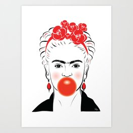Frida Bubble Gum  Art Print