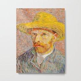 Vincent Van Gogh - Self Portrait with a Straw Hat Metal Print