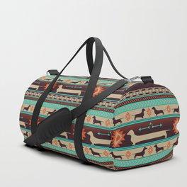 Boho dogs | Smooth Dachshund sunset Duffle Bag