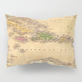 Map Of The Caribbean 1828 Pillow Sham