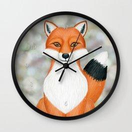 fox woodland animal portrait Wall Clock