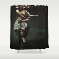 body Shower Curtains featuring abyss of the disheartened : V by Heather Landis