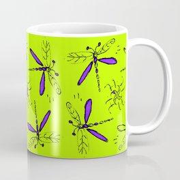 Purple Dragonflys On Lime Green Back Coffee Mug