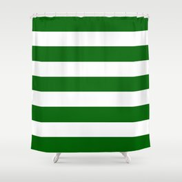 Emerald green - solid color - white stripes pattern Shower Curtain