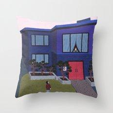 Blue House n°2 Throw Pillow
