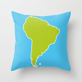 South America map blue ocean and green continent. Vector illustration Throw Pillow