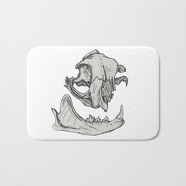 Cat Skull 1 (original black & white) Bath Mat