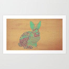 Bunny in Patterns Art Print