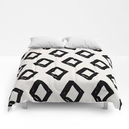 Modern Diamond Pattern Black on Light Gray Comforters
