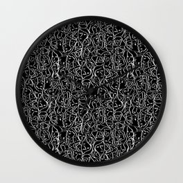 Elio's Shirt Faces in White Outlines on Black Crying Scene Wall Clock