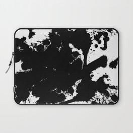 Black and white splat - Abstract, black paint splatter painting Laptop Sleeve