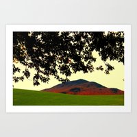 alisa burke Art Prints featuring Burke Mountain Late Afternoon from Darling Hill, Lyndonville by FlatlandersViewOfVT