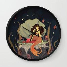 Brown Hair Mermaid Princess Wall Clock