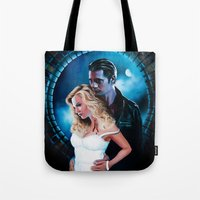 true blood Tote Bags featuring True Blood - Sookie & Eric by Jaime Gervais