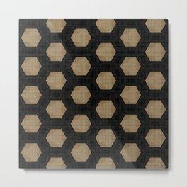 Textured Tan and Black Marble Geo Patterns Metal Print