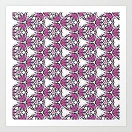 Purple Geometric Flower Pattern Art Print