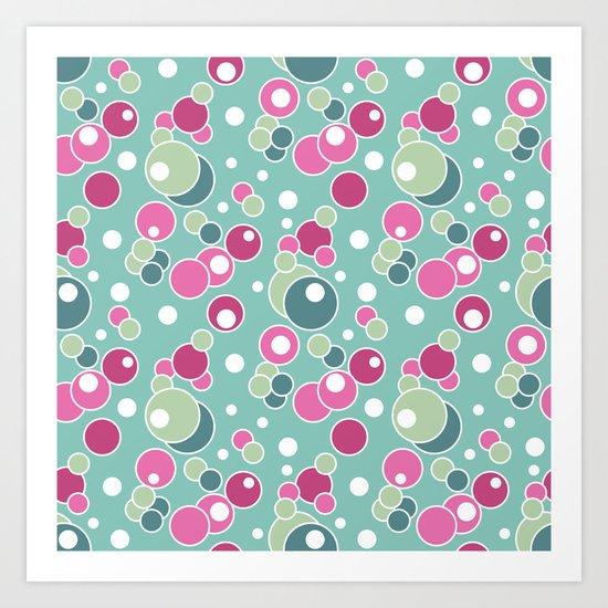 Retro. Multi-colored polka dots . Art Print
