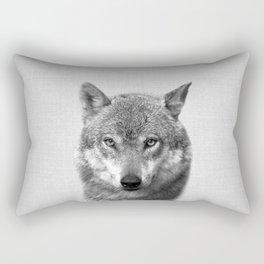 Wolf - Black & White Rectangular Pillow