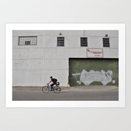 Bywater Bicyclist - New Orleans, Louisiana Art Print