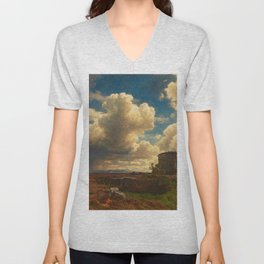 Landscape in Campagna Italy with Gathering Storm by Oswald Achenbach Unisex V-Neck