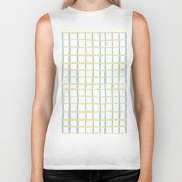 Pastel yellow teal watercolor geometrical checker stripes Biker Tank