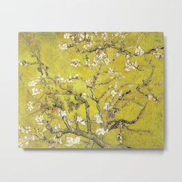 Vincent van Gogh Blossoming Almond Tree (Almond Blossoms) Gold Sky Metal Print